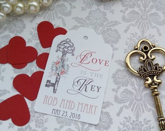 Love is the Key Tags, Wedding Thank You Tags, Custom Wedding Tags, Favor Tags. Bridal Tags. Skeleton Key Tags. Set of 25 to 300 pieces