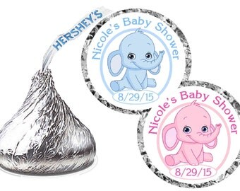 216 ~ ELEPHANT Baby Shower Favors Hershey Kiss Kisses stickers Labels ~ Free Shipping