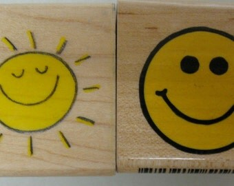 2 smiley face stamps
