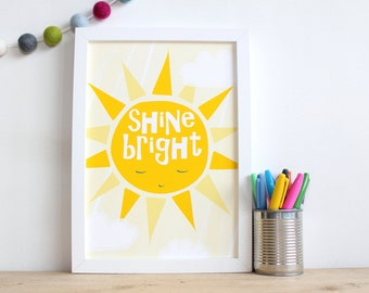 Nursery Sunshine Print, Shine Bright Sun Print, You Are My Sunshine Wall Art, Inspirational Quote for Kids Room, Cute kids wall art, sun art