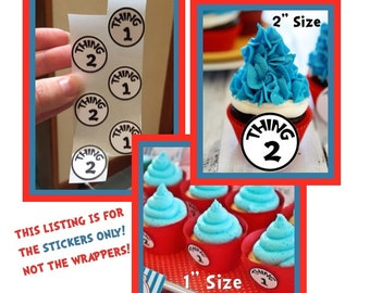 Set of 24 Dr. Seuss Cupcake Wrappers Sticker Thing 1 & Thing 2 Stickers (physical item not digital download)