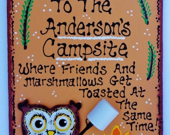 WELCOME CAMPSITE Sign Personalized Name OWL Camping Camper Plaque