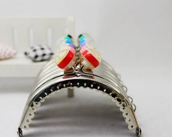 1 PCS of 8.5cm / 3.3 inch Unique Half Round / Semicircle Purse Frame / Kisslock Frame w/ Solid Stripe Candy Beads, 6 Colors Available