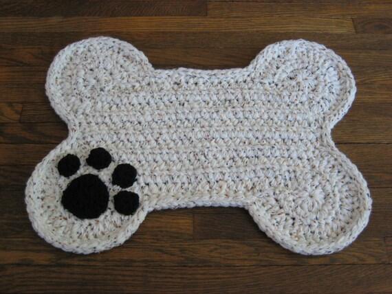 Free Crochet Pattern For Dog Bone Mat : Crochet PATTERN Dog Bone Placemat Rug Pet Food Floor Mat