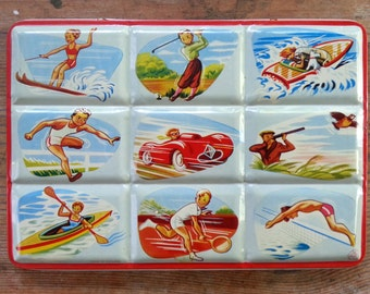 1950's Watercolor Paint Box, Portable Tin, Page London, Lithograph Images, Made in England, Sports Activities, Vintage