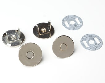 18mm Thin Magnetic Purse Snaps - Nickel - 20 Sets