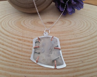 Sterling Silver Agate Slice Necklace