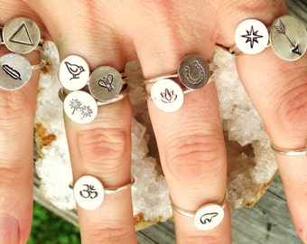 Sterling Silver Stamped Design Rings, Round Ring Band, Various Designs and Sizes