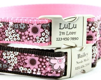 Pink and Brown Floral Personalized Dog Collars, Laser Engraved Name Plate,