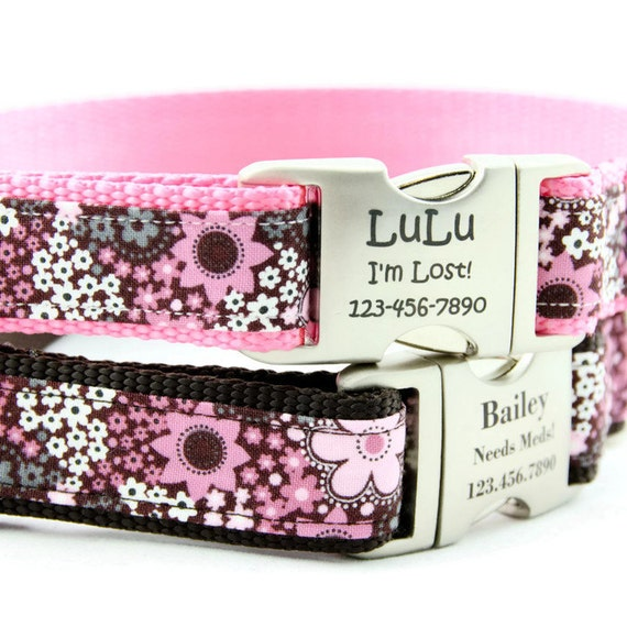 Pink and Brown Floral Personalized Dog Collars Laser Engraved