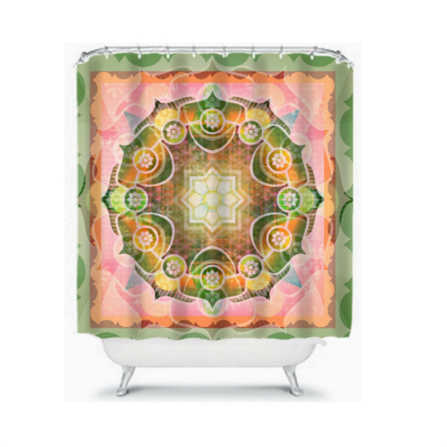 shower curtain mandola style boho chic pastels by folkandfunky
