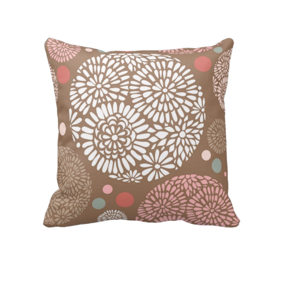 Decorative Pillows Flowers : Boho Floral Throw Pillow Decorative Throw Pillows by FolkandFunky