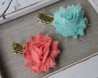 coral and aqua petite flower glitter clips (set of 2)