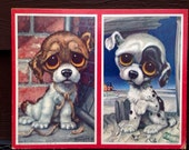 1960's Cardboard Puppy Wall Prints Pictures Plaques Nursery Children's Room Big Eyed Puppies