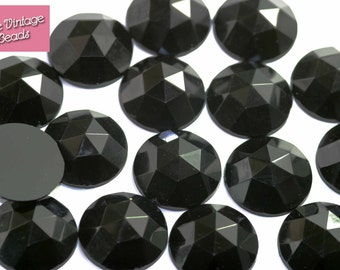 12 x Large Faceted Black Vintage Acrylic Cabochons 20mm