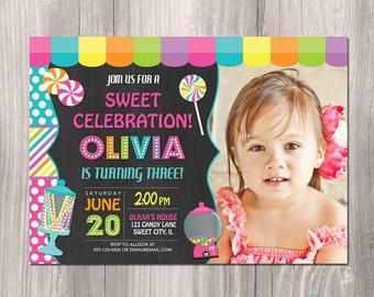Candy invitation, Sweet Shop Birthday Invitation, candyland invitation,  Candy shop invitation, Candy Invite, digital, Printable Invitation