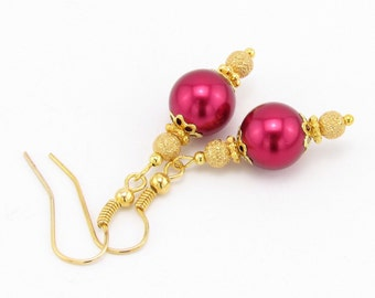 Red and Gold Pearl Holiday Dangle Earrings, Christmas Jewelry, Christmas Gift, Stocking Stuffer