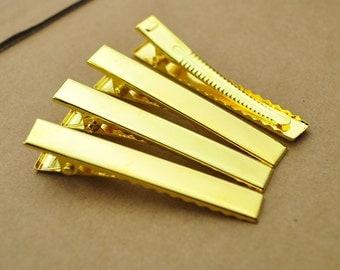 Wholesale Hair clip,100PCS 56x8mm Gold flat metal hair alligator prong clip,Barrettes.