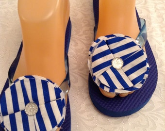 Ladies Extra Small Blue Flip Flops Size 4-5