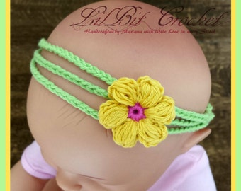 Crochet Simply Spring Baby Headband (adjustable from newborn to 12months)