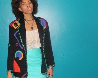 90's vintage blazer with geometric shape details