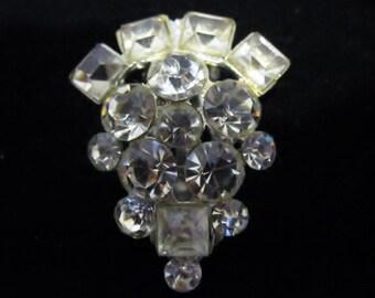 Vintage Rhinestone Silver Clip - clear stones - 1940s style - shoe clip, sweater, gatsby, fancy,formal, dressy,regal, regency, glitz, ornate