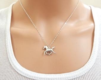 Silver Horse Charm Necklace. Silver Horse Pendant