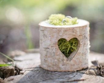 Boîte Gießen Allianzen Bûche et Coeur Ajouré Ring -Box für rustikale Hochzeit