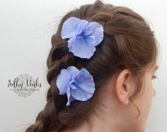Pale Blue Hair Clips, Blue Hair Accessories, Hair Grips, Wedding Hair Accessories, Hydrangea Hair Clips, Hair Flowers, Floral Hair Clips