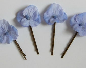 Blue Decorated Bobby Pins, Hair Accessories, Blue Hydrangea Hair Clips, Floral Bobby Pins, Wedding Hair Accessories, Silk Flower Hair Pins