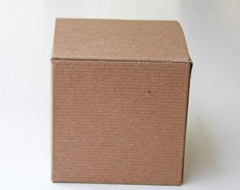 10 4x4x4 pinstripe kraft box, set of 10, kraft gift box, 4x4x4 favor box, natural kraft box, favor box, bridal shower/wedding favor box