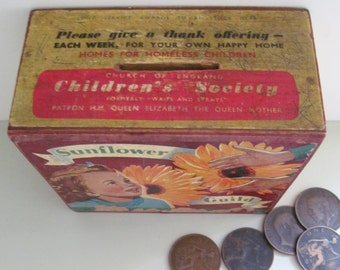 Lovely vintage Church of England Childrens Society (formerly Waifs & Strays) COLLECTION BOX~Sunflower Guild c1950s~Social history~Orphans