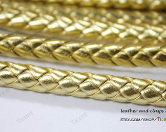 8mm Diameter Gold Braided Leather, 8mm Round Gold Leather Cord-QTY. 1 Yard RLG8M-68