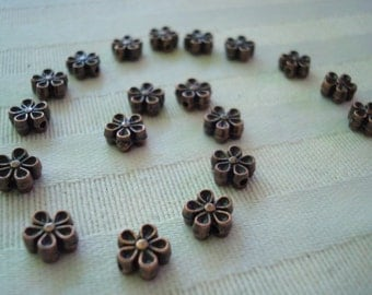 40 Antq Copper Flower Spacers 7x3mm. Quality Detail. Darling, Sweet, Solid Little Spacers  USPS Standard Ship Rates ~From Oregony