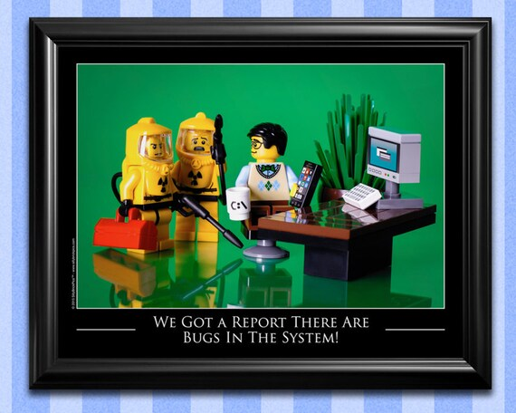 funny office decor geek gifts computer by sillybrickpics on etsy. Black Bedroom Furniture Sets. Home Design Ideas