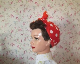 Rosie the riveter white spot bandana/turban/head scarf.
