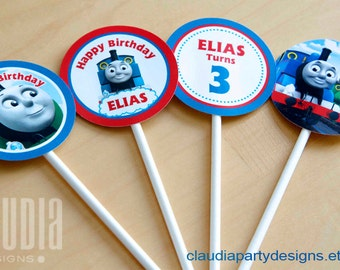 Thomas the Train Cupcake Toppers - Personalized Thomas Cupcake Toppers - Thomas Birthday  - Thomas the Train Party