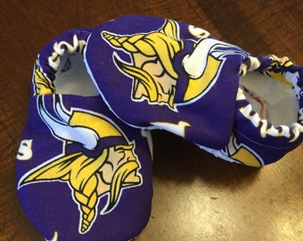 Soft sole baby shoes, crib shoes, Vikings baby shoes