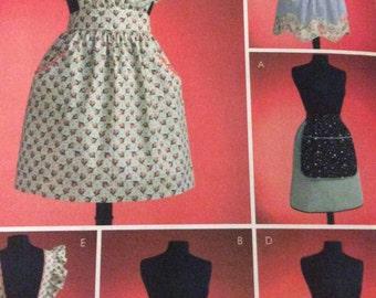 Butterick 4087 1950's Style Apron Sewing Pattern, Bib Apron, Half Apron, Waist Apron,  Kitchen Apron, Craft Apron, Ruffled Apron, S.M.L.