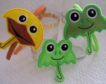 Umbrella Feltie, Oversize or Slider or Headband Duck Or Frog Umbrella Your Choice