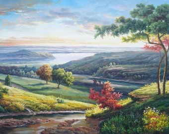 Original oil painting, landscape oil painting, scenery painting, wall art painting for home, custom original art & oil portrait painting