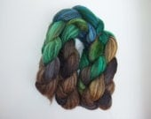 Not Quite Mud Creek -- hand-dyed top in green, blue, brown, and grey. Humbug Finnsheep wool. 4.15-4.2 ounces