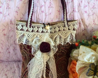Damsel Shabby Victorian Tapestry Handbag - Handmade by The Clever Cottage