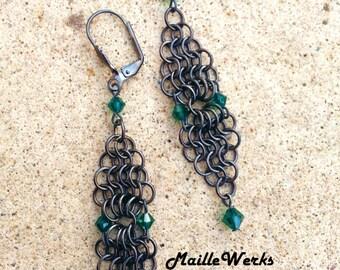 Emerald Green Swarovski Austrian Lead Crystal Micro Chainmaille Earrings / Emerald Green May Birthday Wedding Anniversary Earrings Jewelry