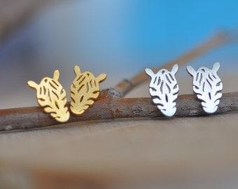 Zebra Earrings in Sterling Silver 925, Gold Zebra Earrings, Zebra Studs, Zebra Jewelry, Animal Earrings, Jamberjewels 925
