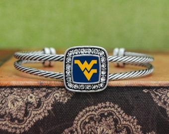 West Virginia Mountaineers Square Cuff Bracelet