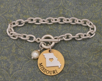 Missouri Love Toggle Bracelet with Pearl Accent - 22711