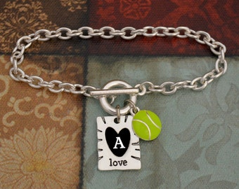 Custom Initial Enamel Tennis and Love Bracelet