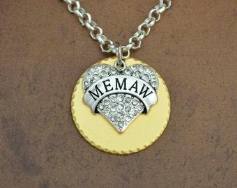 Memaw Heart Gold Disk Necklace - GDNCK00738