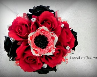 Las Vegas Bridal Bouquet, Las Vegas wedding, Black Red and White wedding, Vegas Wedding Flowers, Queen of Hearts bouquet